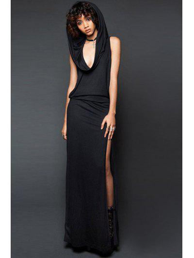 Hooded Cut Out Maxi Dress - Black S