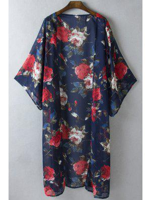 Collarless 3/4 Sleeve Floral Blouse - Blue L