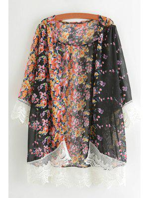 Tiny Floral Print Lace Spliced Blouse - Black Xl