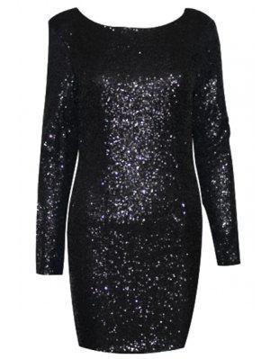 Sequins Scoop Collar Long Sleeve Dress
