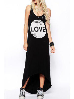 Letter Print Scoop Neck Maxi Sundress - Black S