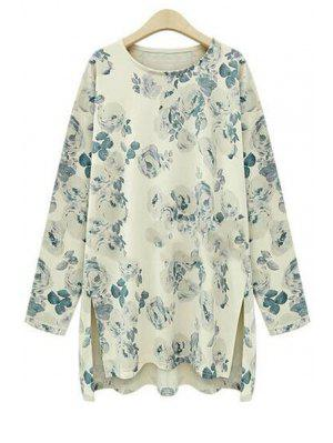 Camiseta De Manga Larga Con Estampado Floral - Ral1001 Beis 5xl