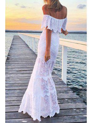 White Lace Slash Neck Maxi Dress