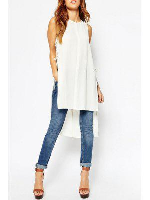 Side Slit Lace-Up High Low Dress - White Xl