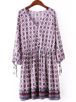V Neck Printed Tie-Up 3/4 Sleeve Dress - Violet Rose S