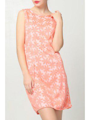 Flower Pattern Jewel Neck Sundress - Pink Xl
