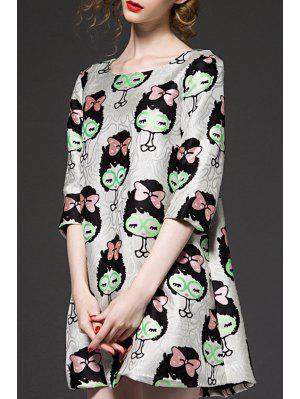 3/4 Sleeve Cartoon Pattern Jacquard Dress - Xl