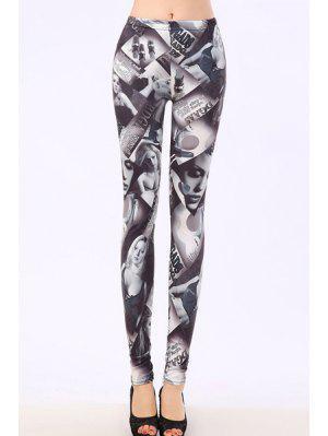 Bodycon Sexy Leggings Patrón Figura - Gris