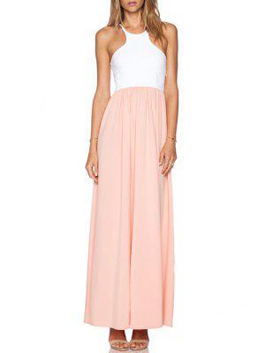 Spaghetti Strap Spliced Chiffon Dress - Pink And White Xl