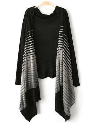 Open Front Striped Asymmetric Cardigan - Black M