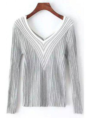 Stripes Spliced V Neck Long Sleeve Jumper - Gray