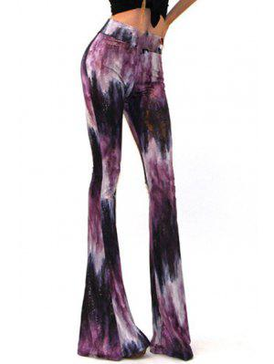 High-Waisted Printed Flare Pants - Purple Xl