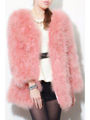 Open Front Pink Faux Fur Coat