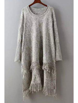 Fringed High Low Sweater - Coffee