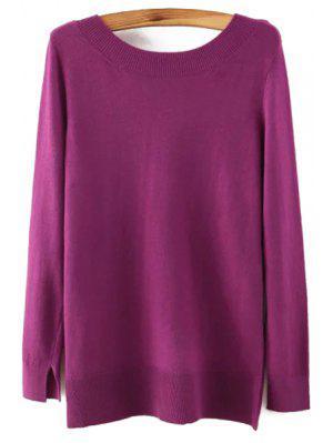 Long Sleeve Low Back Sweater - Purple L