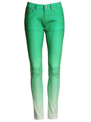 Ombre Color Narrow Feet Pants - Green L
