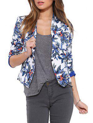 Blue Floral Long Sleeve Blazer