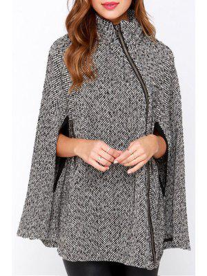 Pure Color Stand Neck Cape Coat