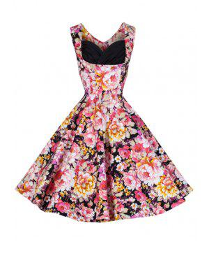 Full Floral Ball Gown Vintage Dress - Black M