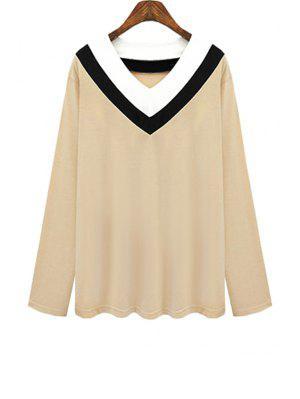 V Neck Color Block Stripe T-Shirt - Khaki 3xl