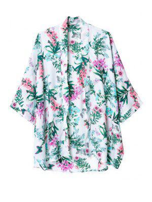 Flower Print Collarless 3/4 Sleeves Kimono - M