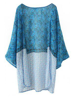 Paisley Print Long Sleeves Kimono - Lake Blue Xl
