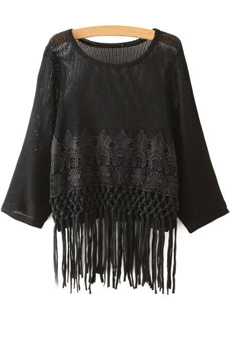 Crochet Flower Tassels Sweater