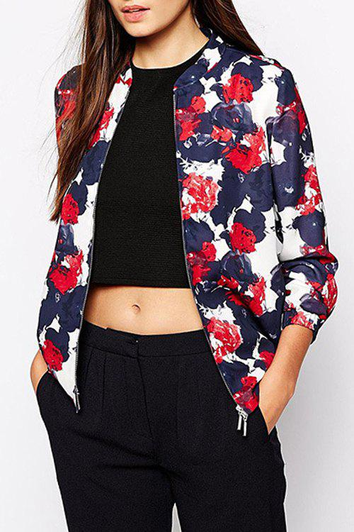 Floral Stand Neck Long Sleeve Baseball Jacket - COLORMIX M
