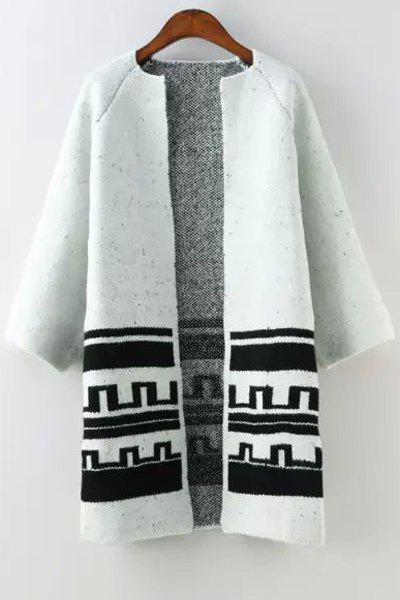 Jewel Neck Black Stripe Pattern Cardigan