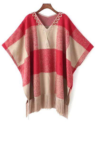 Tartan Plaid V Neck Loose Fitting Cape Sweater