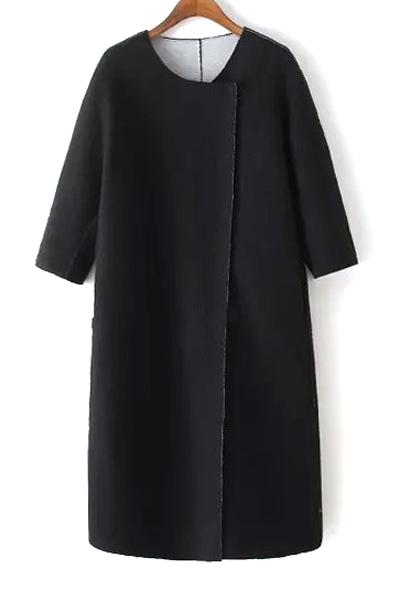 3/4 Sleeve Covered Button Black Coat