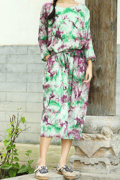 3/4 Sleeve Colorful Midi Dress