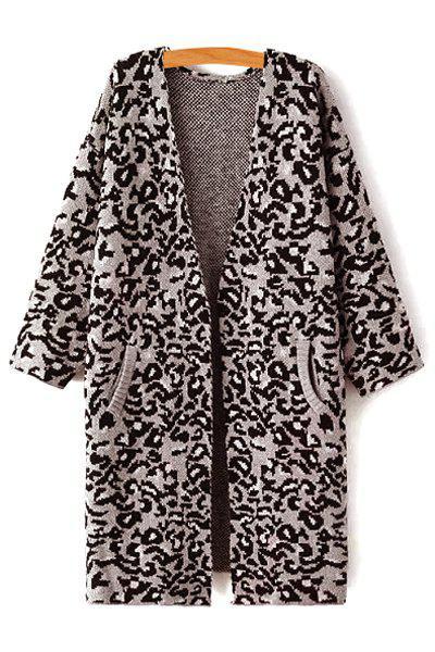 Open Front Leopard Pattern Long Cardigan