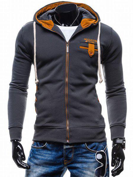 Classic Color Spliced Applique Button Pocket Embellished Hooded Long Sleeves Men s Slim Fit Hoodie 150390307