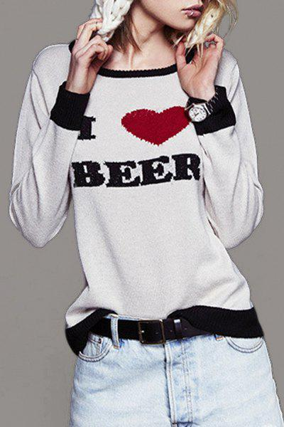 Letter Heart Embroidered Sweater