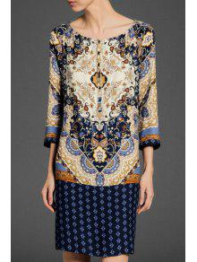 Scoop Neck Floral Print 3/4 Sleeve Dress - PURPLISH BLUE S