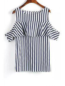 Buy Short Sleeve Striped Cut T-Shirt - BLUE AND WHITE L
