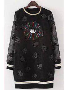 Full Eye Print Long Sleeve Dress - Black M