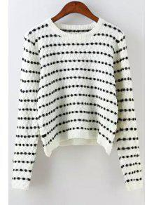 Buy Polka Dot Long Sleeves Jumper - WHITE ONE SIZE(FIT SIZE XS TO M)