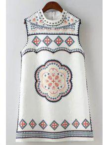 Ethnic Print Round Neck Sleeveless Dress - White L