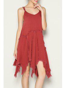 Spaghetti Strap A-Line Frayed Dress - Darksalmon L