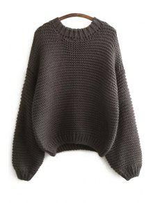 Buy Pure Color Long Sleeve Sweater - DEEP GRAY ONE SIZE(FIT SIZE XS TO M)
