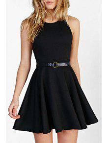 Jewel Neck Black Backless Sleeveless Dress - Black 2xl