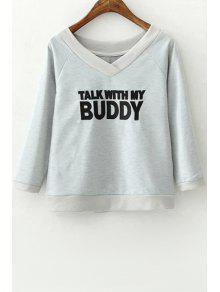 3/4 Sleeve Letter Pattern Sweatshirt - Gray M