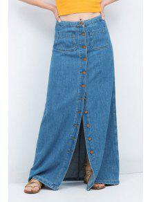Buy Denim High Waisted Line Skirt - BLUE S