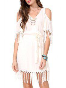 V Neck Solid Color Tassel Splicing Dress - White Xl