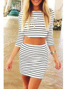 Buy Black Stripe 3/4 Sleeve Crop Top +Skirt - WHITE AND BLACK L