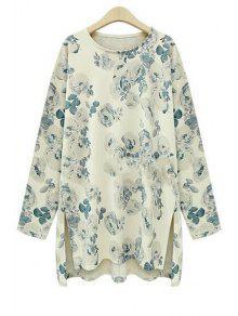 Floral Print High Low Long Sleeve T-Shirt - Beige 5xl