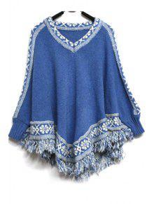 Batwing Sleeve Tassels Cape Sweater - Blue