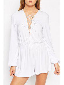 Plunging Neck Lace-Up Romper - White M